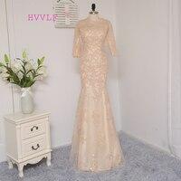 Dressgirl Champagne Evening Dresses 2017 Mermaid Half Sleeves Tulle Sequins Elegant Long Evening Gown Prom Dress