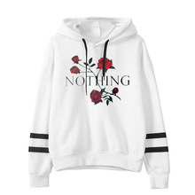 winter and 2019 Europe style rose floral hoodies woman sweatshirt fashion hooded pullover long sleeve female sweatshirt XL cut and sew floral sweatshirt