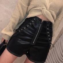 Summer Spring Streetwear High Waist Drawstring Design Women Leather Shorts Tight Solid Color Sexy Black White Female Shorts black pleated design drawstring waist shorts