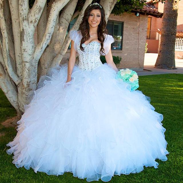 Doce 16 Vestido de baile de Máscaras 2017 Vestidos Curtos de 15 Años Vestidos Quinceanera Branco