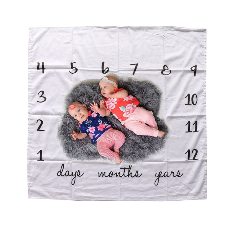 Newborn Baby Monthly Growth Milestone Blanket Swaddle Wrap Letter Print Background Photography Prop Infant Bathing Towel