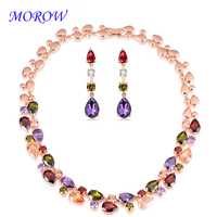 MOROW Colorful Zircon Necklace Earring Sets Crystal Drop Earrings Rose Gold Color Jewelry Set for Woman Bridal Wedding Bijoux