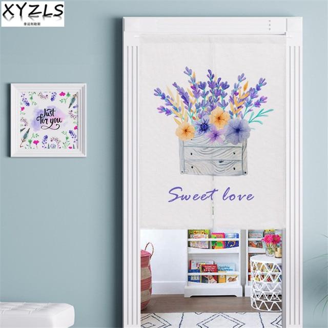 XYZLS Modern Door Valance Cotton Linen Floral Door Curtain Printed Half Open Kitchen/Door Short Curtain For Living Room