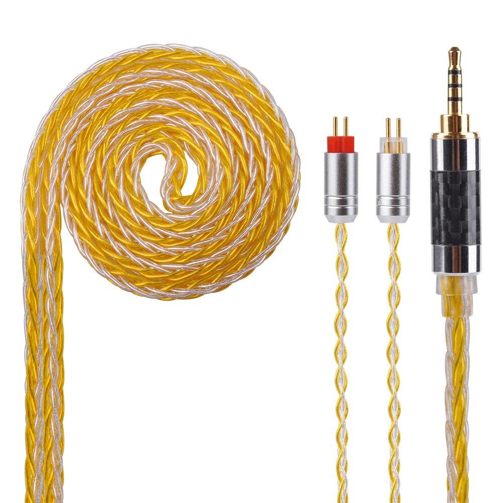 Yinyoo 8 Core Amélioré Argent Plaqué Écouteurs Equilibrage Câble Avec MMCX/2pin Pour Yinyoo HQ5 HQ6 QT2 KZ ZS10 ZS6 ES4 ZSA ED16 ZSR