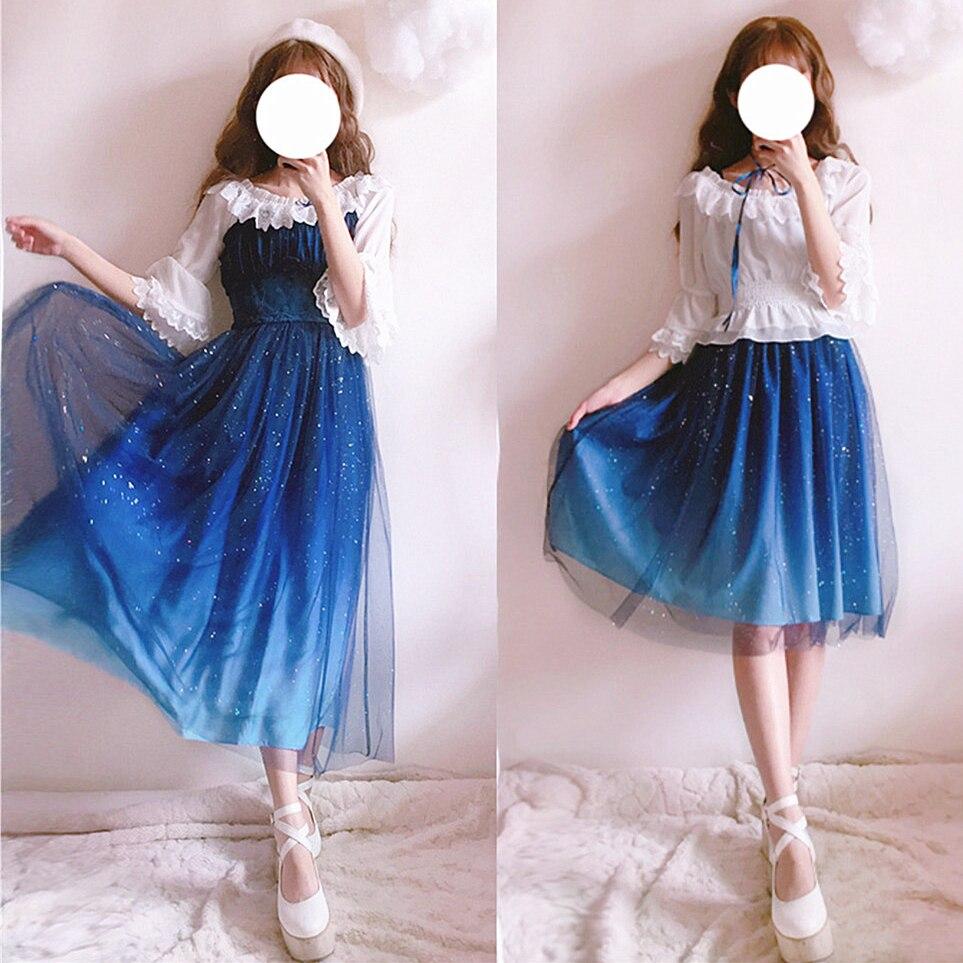 Offre spéciale gratuite livraison 2019 nouveau ciel d'étoiles robes progressives Lolita ensemble complet de jupes de fées princesse quotidiennes