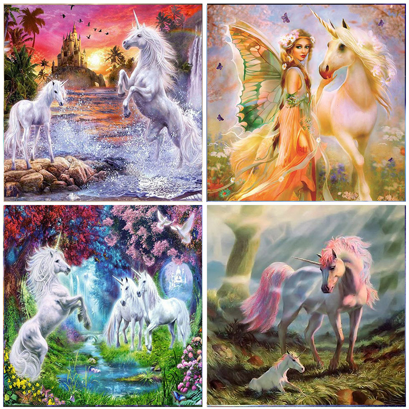 Pegasus Kits 5D Diamond Painting Cartoon Unicorn Elf girls photo Full Round Drill Embroidery Home Decoration Mosaic Cross Stitch(China)