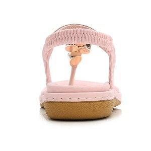 Image 3 - BEYARNEPlus rozmiar 4 12 artystyczny kryształ sandały damskie buty Rhinestone Lady klapki Pearl Slip On Tong kobieta płaski plażowy but