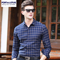 PORT&LOTUS Brand Men Clothes Casual Men's Shirts Slim Fit Mens Long Sleeve Plaid Shirt Men Plus Size YT027 86011