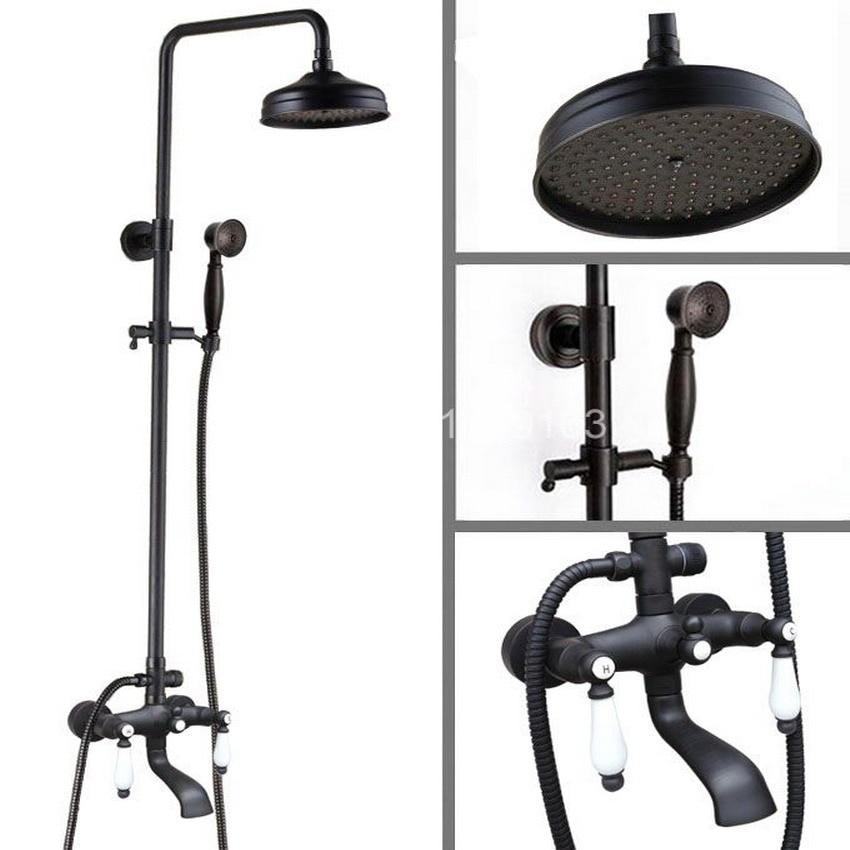 Black Oil Rubbed Bronze Wall Mounted Dual Ceramics Handles Bathroom Rain Shower Faucet Set Tub Tap + Handheld Shower ahg141