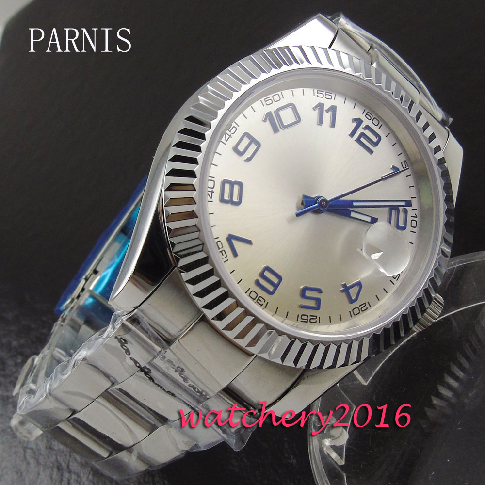 все цены на 40mm Parnis white dial blue markers date adjust deployment clasp sapphire glass Automatic movement Men's watch онлайн