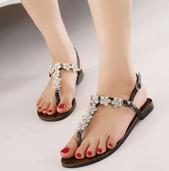 Flats Ankle Wrap Open The Toe Women Summer Crystal Sandal Shoes Lady Fashion Sexy Rhinestone Flip Flops Sandals 35-40 SXQ0921 thin high heels open the toe ankle wrap women summer crystal sandal shoes lady rhinestone sexy sandals plus size 31 48 sxq0509
