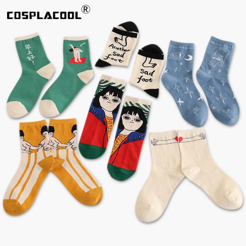 [COSPLACOOL]Funny Cartoon Girl Patterned Ankle Funny   Socks   Women Short Hipster Japanese Casual Creative   Socks   Summer Art Sokken