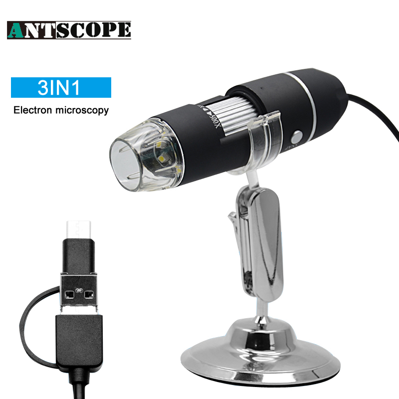 Antscope 3IN1 Digital Microscope 8 LED Multple Adjstment 1000X Android USB Type C Endoscope Camera Magnifier Video Camera Stand the allman brothers band the allman brothers band win lose or draw lp