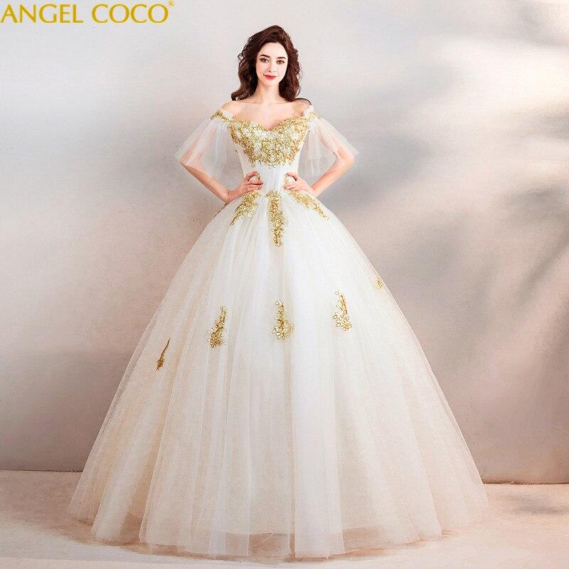 Luxury Maternity Wedding Dresses Gold thread embroidery Bride ...
