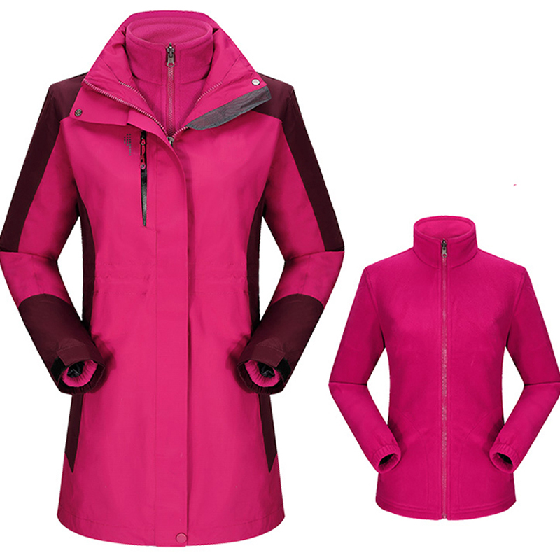 ФОТО Women 2 in 1 Long Coat Winter Sport 3 in 1 Trekking Hiking Jacket Ladies Nylon Windstopper Windbreaker Fleece Inner Slim Coats
