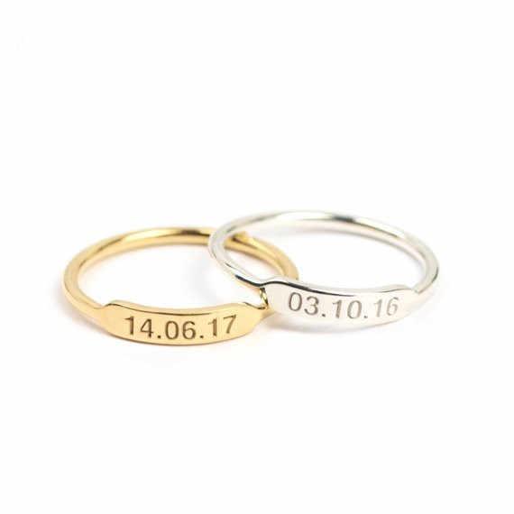 Handmade Stackable Custom Engraved Initial Bar Rings For Women