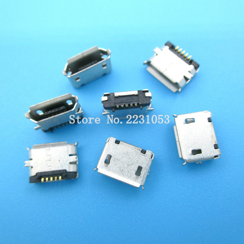 20PCS/LOT New high quality <font><b>Micro</b></font> <font><b>USB</b></font> <font><b>Connector</b></font> Jack Female Type 5Pin MK5P SMT Tail Charging socket <font><b>PCB</b></font> Board image
