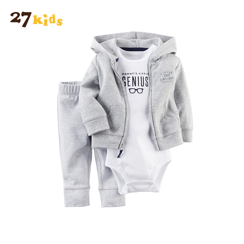 27Kids 3Pcs/Lot Baby boy Clothes Set New Born Romper Costume For Kids girl Clothes Hooded Babys Clothes Cotton Long Sleeve Suit