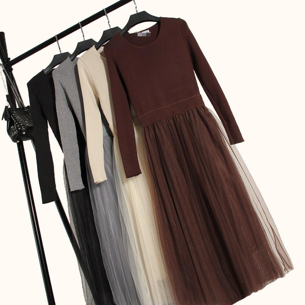 ALPHALMODA Womens Graceful Knitting Dress Long-sleeved Gauze Big Flounced A-line Vestidos Spring Mid-calf Princess Dress