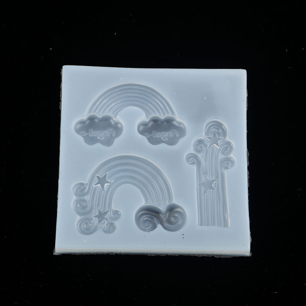 Doreen Box Silicone Resin Mold For Jewelry Making DIY Creative Rainbow White Cloud Tools 79mm(3 1/8