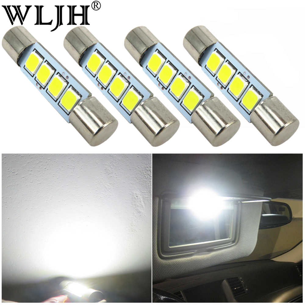 WLJH 4x White 2835 SMD 29mm 28mm Festoon Led Lamp Bulb 4-SMD 6614F 6612F for Car Interior Dome Map Vanity Mirror Sun Visor Light