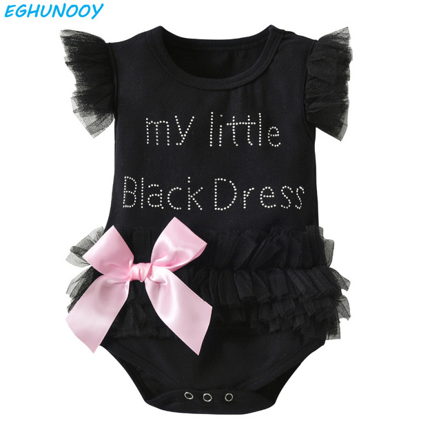 Summer Newborn Baby Girls Romper Cute Sleeveless Lace Letter My Little Pink  Black Dress Infant Jumpsuit Toddler Clothing dd522e334fc3