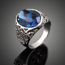 Bijoux Vintage, rétro sculpté exquis de luxe saphir, rose, vert, cristal anneau ellipse, de mariage bijoux en argent avec des pierres, anel(China (Mainland))