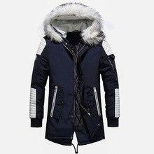 Alta qualidade grosso quente dos homens jaqueta de inverno casaco de pele grande com capuz estilo rua longo parka casual magro masculino outwear