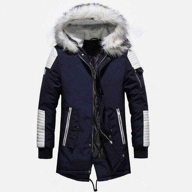 באיכות גבוהה עבה חם Mens חורף מעיל מעיל גדול פרווה סלעית רחוב סגנון ארוך גברים Parka מקרית Slim זכר להאריך ימים יותר