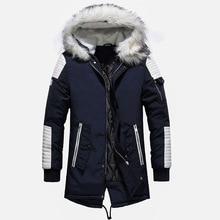 Wysokiej jakości gruby ciepły mężczyzna kurtka zimowa płaszcz duża, futrzana z kapturem Street Style długi mężczyzna Parka Casual szczupły mężczyzna znosić