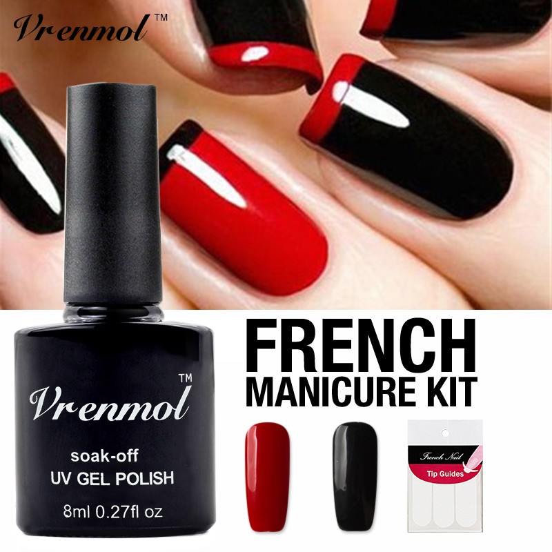 Vrenmol Nail Art Set Black+red Color Nail Gel Polish Soak Off UV Gel Varnish Long Lasting Lacquer+Gift for French Nail Stickers