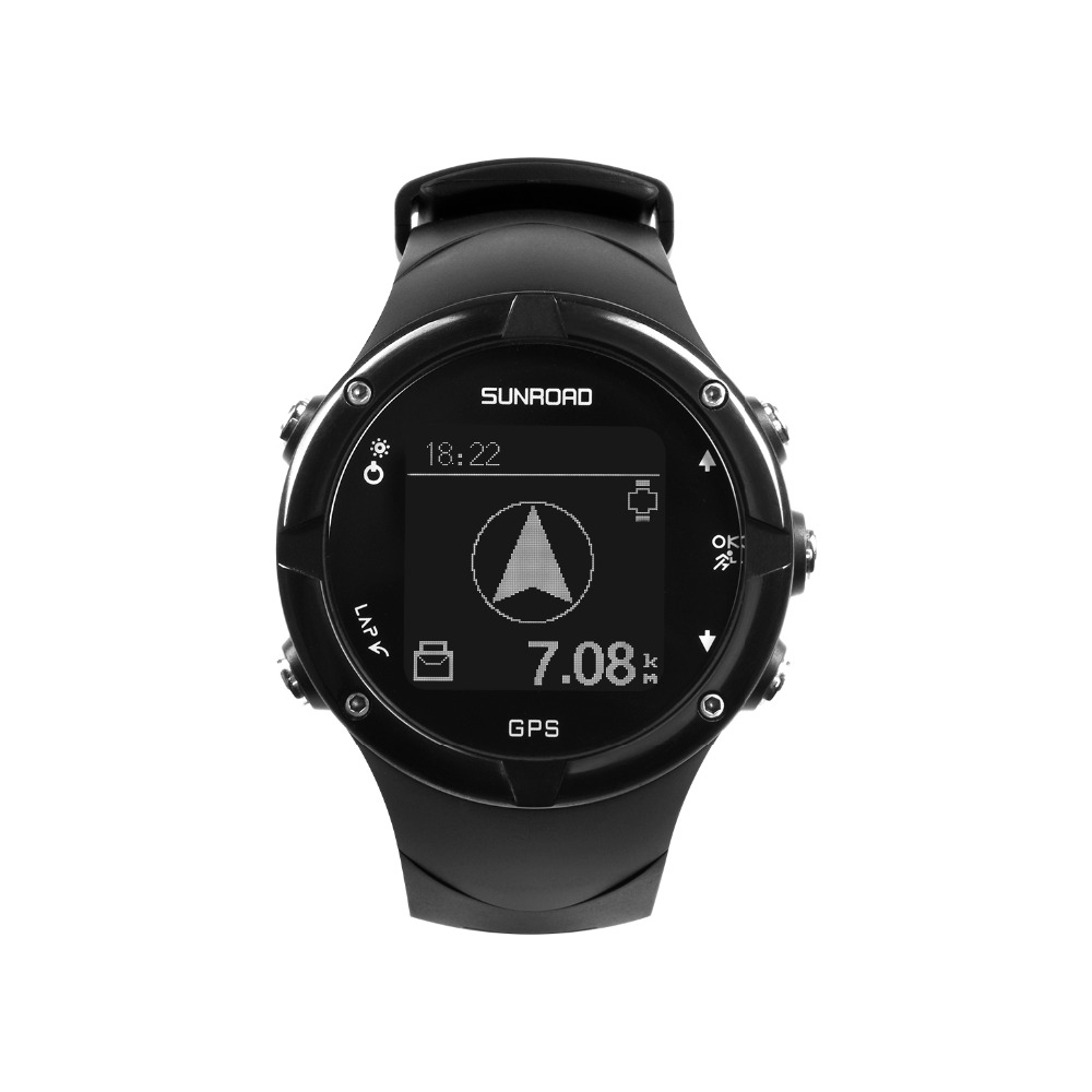 SUNROAD GPS Men's Digital Heart Rate Watch Barometer Altimeter Swimming Running Watch Waterproof Compass Sports Wristwatch