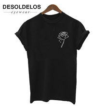 Rose flower pocket Print Women tshirt Cotton Casual Funny t shirt For Lady Top Tee Hipster Tumblr Drop Ship 2019 New Fashion