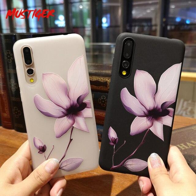 MUSTIGER 3D Alívio Flor TPU Caixa Do Telefone para Huawei P20 Pro p10 p8 p9 Lite Capa Mole Para Honra 8 lite 9 10 Tampa Do Caso