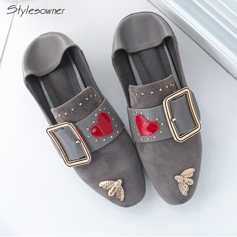Stylesowner New Spring Women Casual Flats Brand Zapatillas Mujer Casual Metal Rivets Flat Shoes Women Genuine Leather Loafers vtota shoes woman flat summer shoes fashion genuine leather single shoes 2017 new zapatillas mujer casual flats women shoes b44