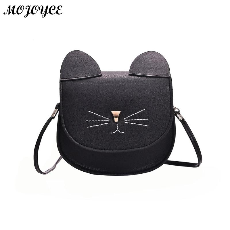PU Leather Cute Women Messenger Bag Cat Shape Flap Crossbody Shoulder Bag Girls Mini Casual Crossbody Handbags Bolsa Feminina