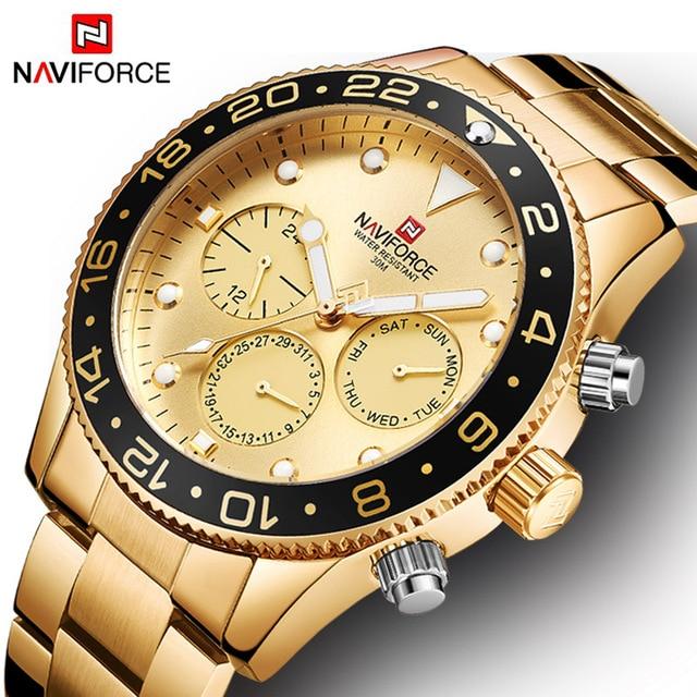NAVIFORCE Mens שעון פלדת יוקרה Horloge גברים של קוורץ שעונים גברים של שעוני יוקרה עמיד למים זכר שעון גברים של יד שעון