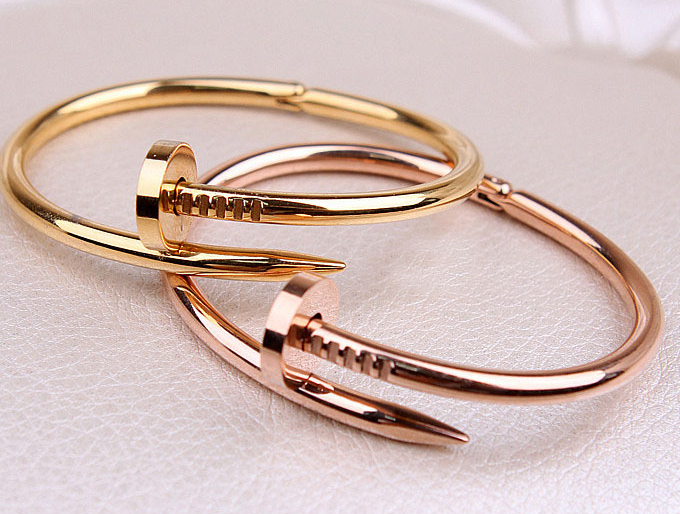 Free Shipping New Arrival Celebrity Womens Mens Stainless Nail Bracelet Jewelry Silver Gold Rose Bangle D001 In Bangles From