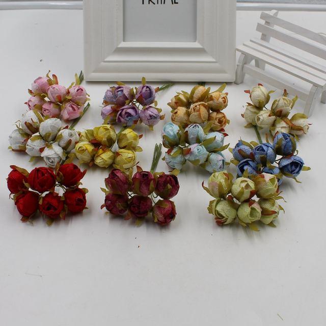 Online Shop 6pcs / lot Small Camellia Silk Artificial Bouquet Home ...