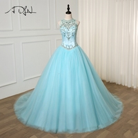 ADLN Princess Quinceanera Dresses Halter Luxury Beading Crystals Sweet 15 Year Dress Ball Gown Tulle Quinceanera Gowns
