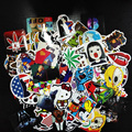 100PCS Pack Random music Skateboard Guitar Travel Case sticker  Black and white  Car decal Cute Stickers fashion funny sticker