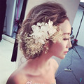 2016 Charming Gypsophila Flor Do Cabelo Do Casamento Headwear Nupcial Noivas Acessórios de Noiva Se Casou Com Cabelo Estilo Pin