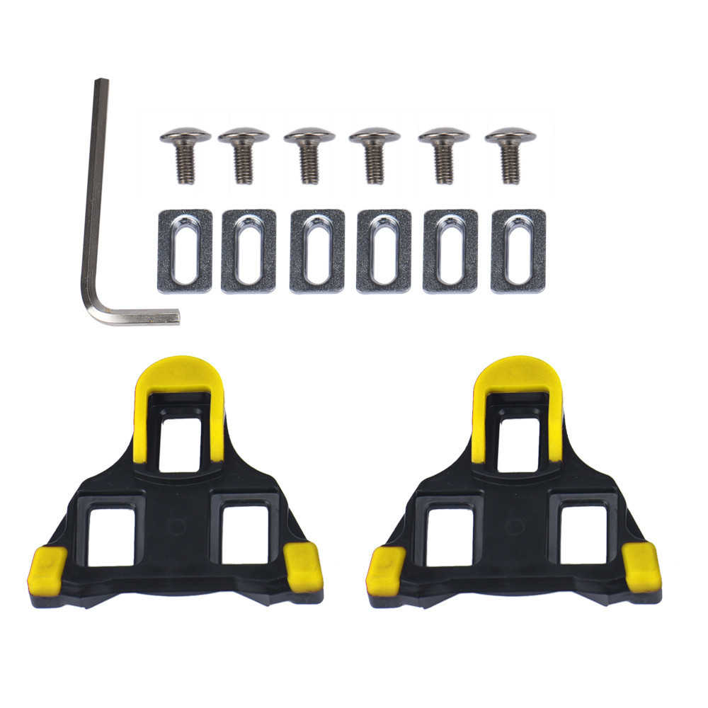 One Set  2 X Bicycle Bike Self-locking Pedal Cleats Set Yellow For Shimano SM-SH11 SPD-SL For Road Mountain Bike Accessories
