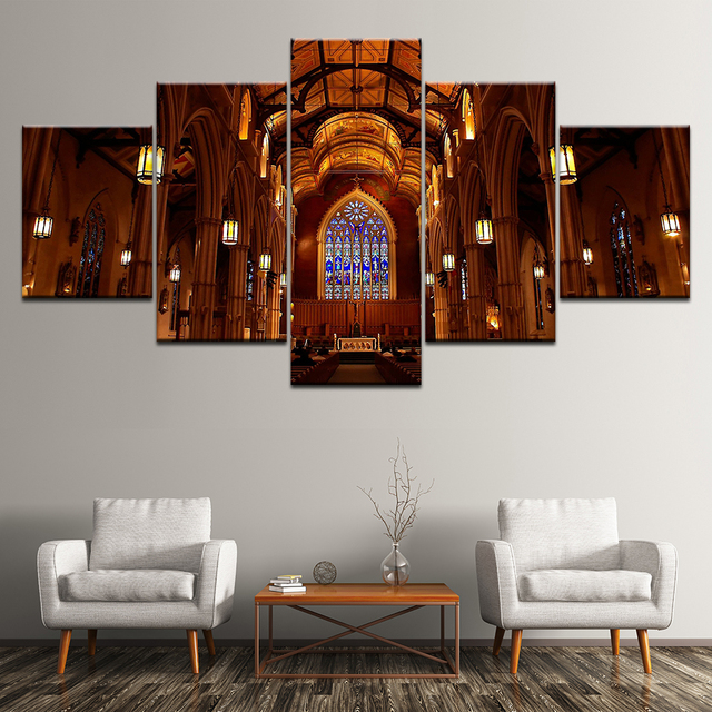 St Michael S Cathedral Basilica Toronto 5 Pieces Wall Art Painting Modular Wallpapers Poster Print