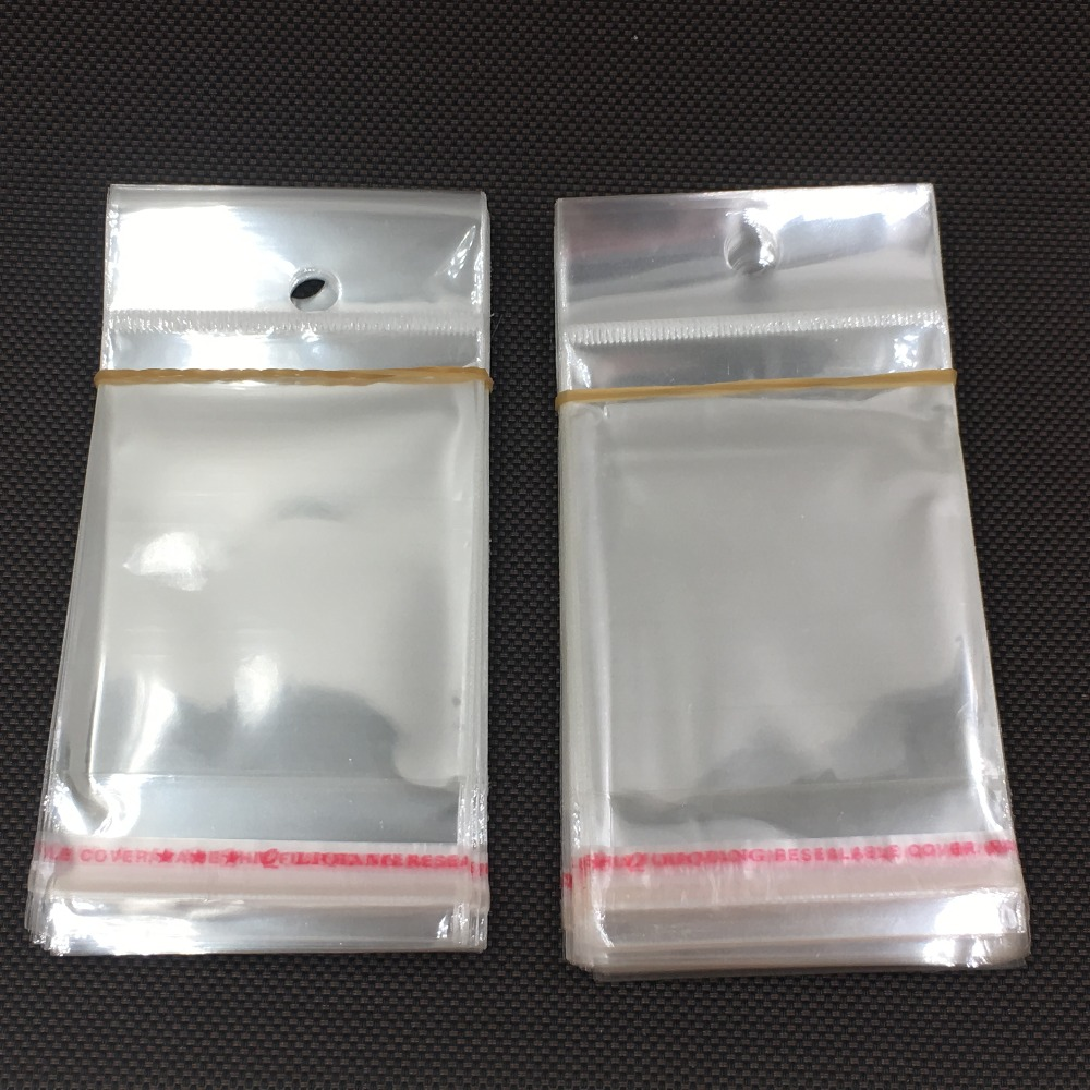 Us 5 94 15 Off 500pcs Clear Transpa Opp Bags With Hanging Hole Ng Plastic Bag Self Adhesive Seal Waterproof In Gift
