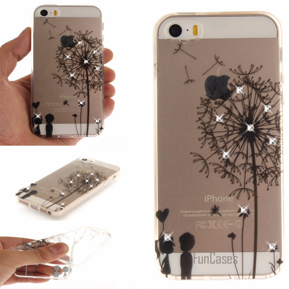 For coque iPhone 5s 5 Case Rhinestone Glitter TPU Cover for fundas iPhone SE Case For ipone iphon ihone ifon aifon 5
