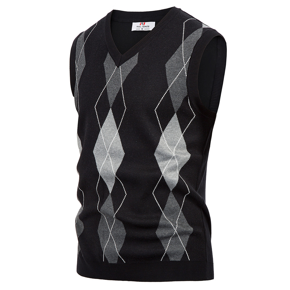 Mens Fine Wool Knitted Sweater Vest Tank Top V Neck Sleeveless Jumper Pullover