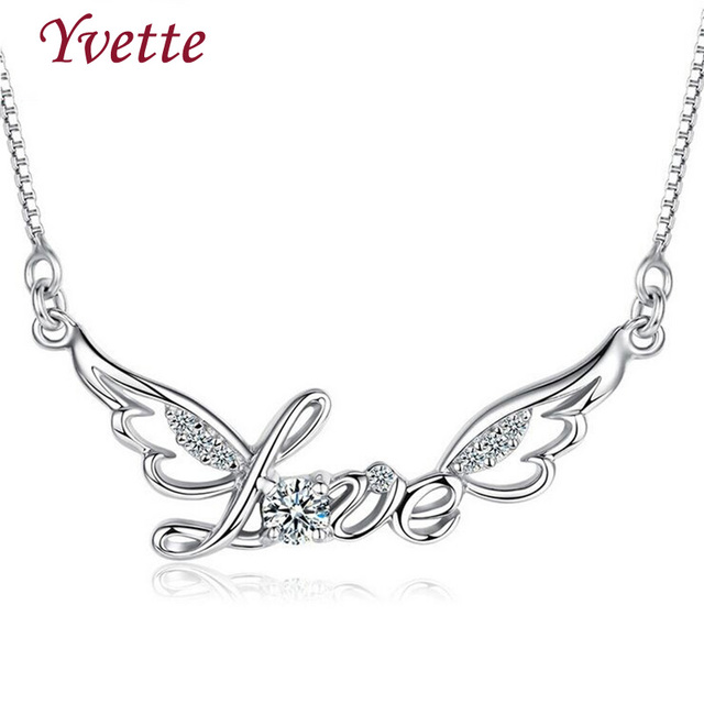 Cl Ic Style Pendant Necklaces High Quality  Sterling Silver Love Word Pendant Necklace For Women Jewelry