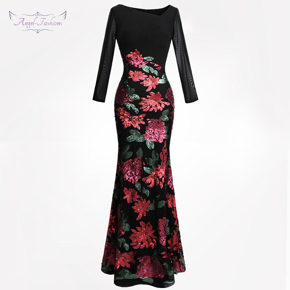 Angel fashions Women s Long Sleeves Embroidery Sequin Flowers Evening Dress Black 396
