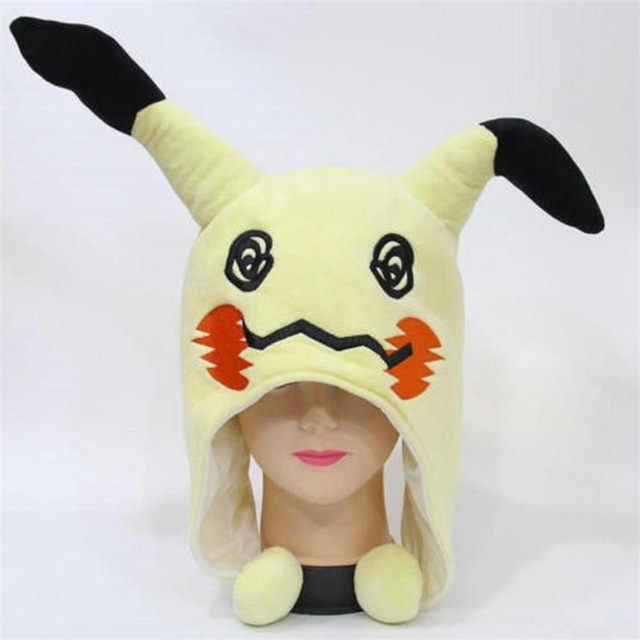 Japanese Anime Adlut kids Pokemon Mimikyu Plush Hat Cosplay Cartoon Warm Cap